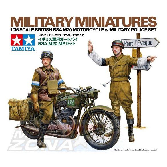 Tamiya British BSA M20 Motorcycle - w/Military Police Set - makett