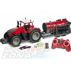 Carson - 1:16 RC Tractor w. road tank 100% red