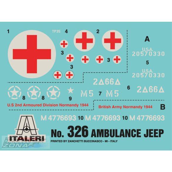 Italeri 1/4 ton. 4x4 AMBULANCE JEEP - makett