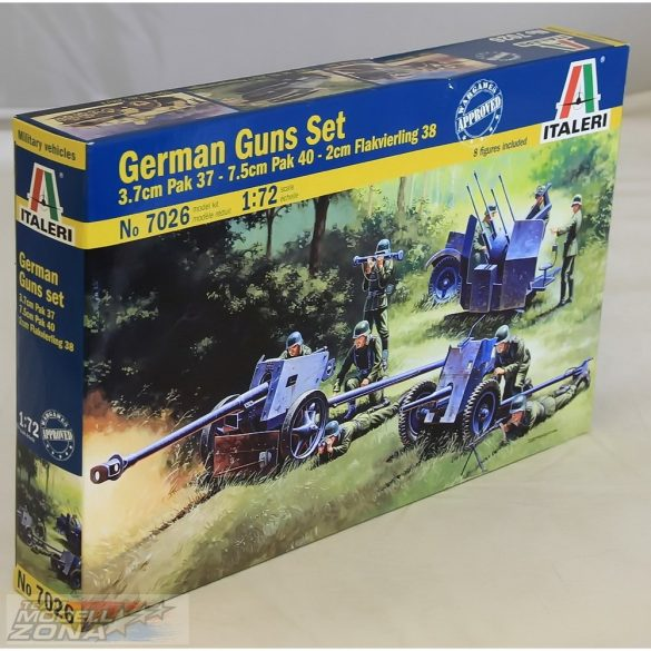 Italeri German Guns Set: PAK35-PAK40-FLAK38 - makett