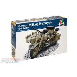 Italeri - 1:9 BMW R75 German Milit.Motor.w/Sidecar - makett