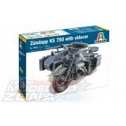 Italeri - 1:9 ZUNDAPP KS 750 with Sidecar - makett  - oldalkocsis motor