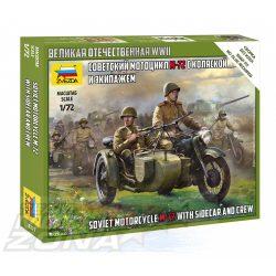 Zvezda - 1:72 második világháborús szovjet katona figurák oldalkocsis motoron